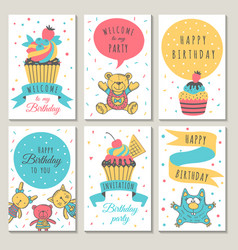 design celebration cards kids invitation vector image