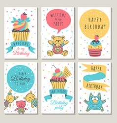 Design of celebration cards kids invitation for vector