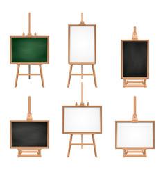 different colored blank boards standing on easels vector image