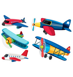 Different types airplanes vector