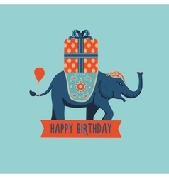 elephant with a big present vector image