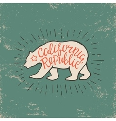 Emblem california republic with bear and vector