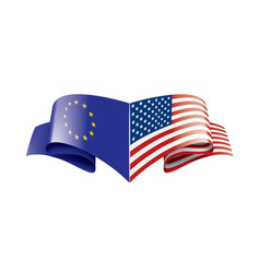 European union and american flags vector