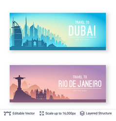 Famous city views vector