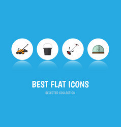 Flat icon farm set of hothouse grass-cutter lawn vector