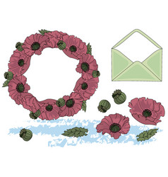 Flowers and letter cartoon clipart color vector