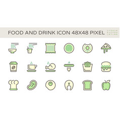 Food and drink and coffee icon set design 48x48 vector