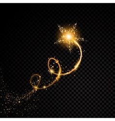Gold glittering spiral star dust trail sparkling vector