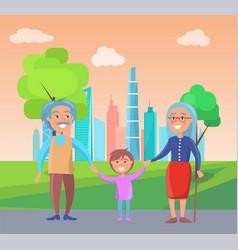 grandparents walk with grandson near skyscrapers vector image