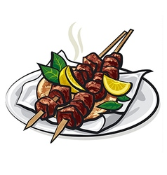 Greek meat kebabs vector