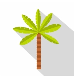Green palm tree icon flat style vector