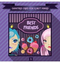 Greeting card for a best friend vector