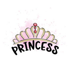 hand drawn doodle tiara in watercolor style vector image