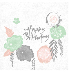 happy birthday floral japan style frame vector image