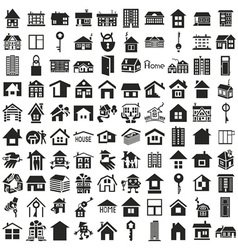 Home icons on white vector image