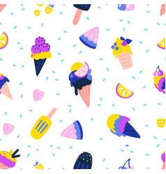 ice cream pattern seamless texture summer vector image
