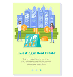 Investing in a real estate landing page template vector