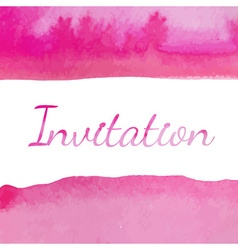 Invitation with watercolor background vector image
