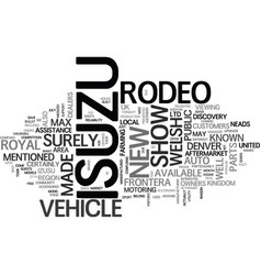 Isuzu rodeo at royal welsh show text background vector