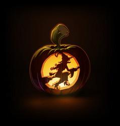 Jack-o-lantern dark witch on broom vector