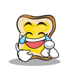 joyful face bread character cartoon vector image