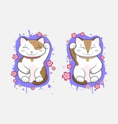 Kawaii Maneki-Neko lucky cats set of two vector