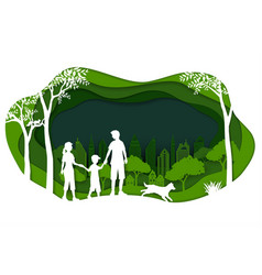 landscape with eco green city and happy family vector image