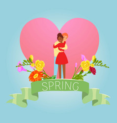 love spring valentine day with two enamored vector image