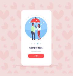 lovers couple under umbrella happy valentines day vector image