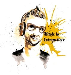 Man ink hipster music vector image