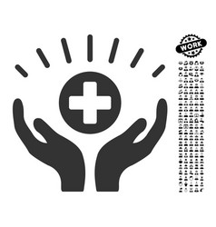 Medical prosperity icon with people bonus vector