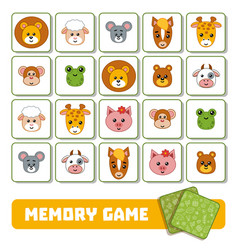 memory game for children cards with animals vector image