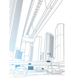 modern city view with skyscrapers and cars on road vector image