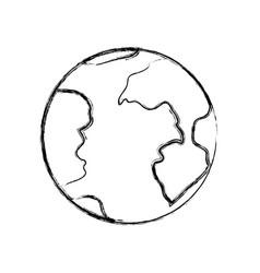monochrome blurred silhouette of earth globe icon vector image