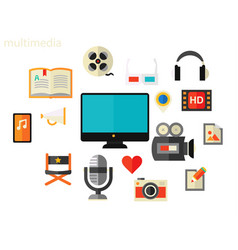 multimedia concept flat vector image