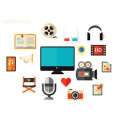 Multimedia concept flat vector