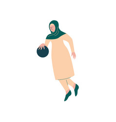 Muslim woman in hijab playing with ball arab vector
