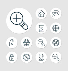 network icons set with cancel open lock zoom in vector image