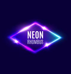 Night club neon rhombus retro light lozenge sign vector