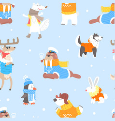 north pole arctic animals seamless pattern cute vector image