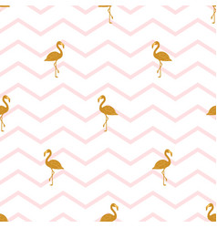 Pattern with golden flamingos vector