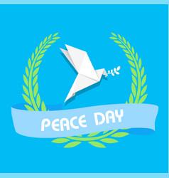 peace day ribbon origami dove birds olive branch v vector image