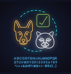 Pet friendly establishments neon light concept vector