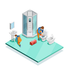 Plumbers in modern bathroom isometric image vector