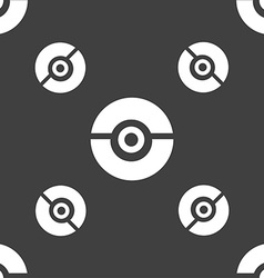 Pokeball icon sign Seamless pattern on a gray vector