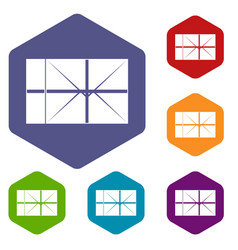postal parcel icons set hexagon vector image