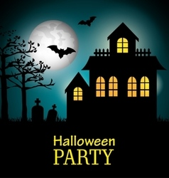 poster halloween party with house scary design vector image