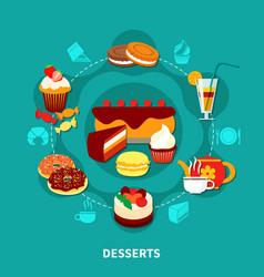 Restaurant Desserts Round Composition vector image
