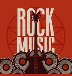 rock music banner with guitar and audio speakers vector image