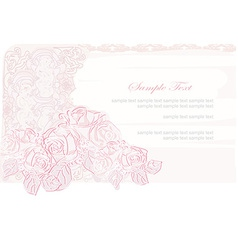 romantic flower invitation card vector image